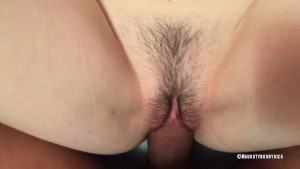 Babe with hairy pussy get a big cock inside her tight wet pussy